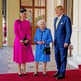 La reine Maxima et le roi Willem-Alexander des Pays-Bas reçus par la reine Elizabeth II au palais de Buckingham à Londres, le 24 octobre 2018.