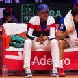 """Jo-Wilfried Tsonga et Yannick Noah lors du match de finale de la Coupe Davis """"Jo-Wilfried Tsonga (France) - Marin Cilic (Croatie)"""" au stade Pierre Mauroy à Villeneuve d'Ascq, le 23 novembre 2018. La Croatie l'a emporté 6-3, 7-5, 6-4."""