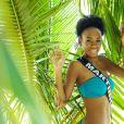 Miss Martinique en maillot de bain lors du voyage Miss France 2019 à l'île Maurice, en novembre 2018.