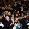 Le roi Abdullah II de Jordanie, la reine Rania et la princesse Iman le 24 novembre 2018 à l'Académie militaire royale de Sandhurst en Angleterre pour la parade de fin de formation de la princesse Salma de Jordanie.