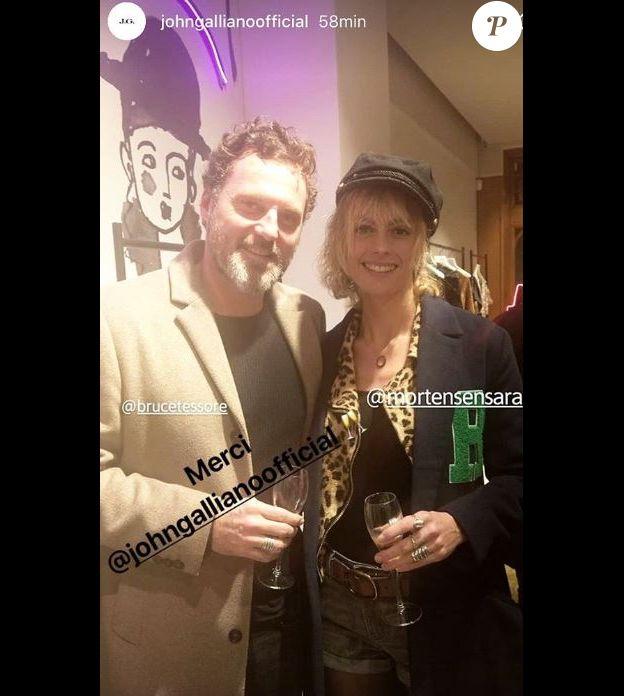 Bruce Tessore et Sara Mortensen à une soirée organisée par John Galliano, 5 décembre 2018