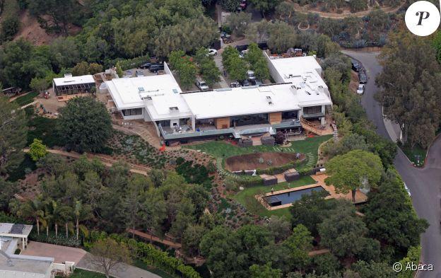 Vue aérienne du domicile de Jennifer Aniston situé dans le quartier de Bel Air à Los Angeles.