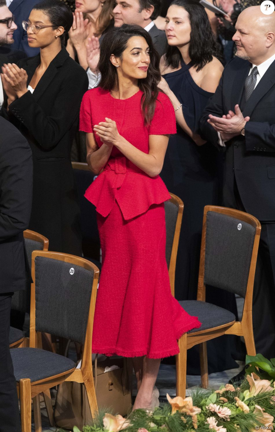 Amal Clooney assiste à la remise du Prix Nobel de la Paix à la mairie d'Oslo. Le 10 décembre 2018.