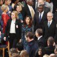Nadia Murad et Denis Mukwege reçoivent le Prix Nobel de la Paix 2018 à la mairie d'Oslo. Le 10 décembre 2018.