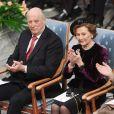 Le roi  Harald V et la reine Sonja de Norvège assistent à la remise du Prix Nobel de la Paix à la mairie d'Oslo. Le 10 décembre 2018.