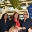 Anne Hidalgo (Maire de Paris), Eva Darlan, Muriel Robin, Clémentine Autain - Grand rassemblement contre les violences faites aux femmes à l'appel de Muriel Robin au Palais de Justice de Paris, le samedi 6 octobre 2018. © Coadic Guirec / Bestimage