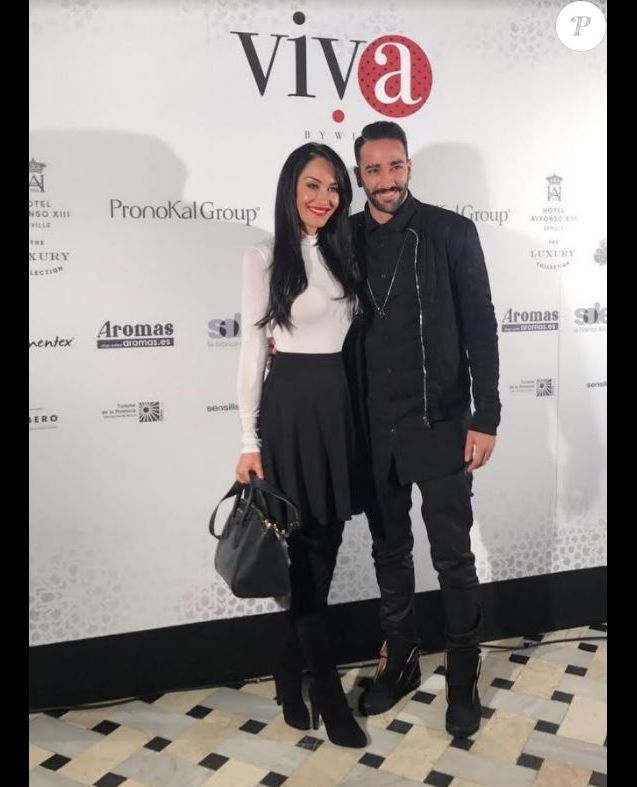 Sidonie Biémont et Adil Rami - Photocall du défilé Flamenco à l'hôtel Alfonso XIII à Madrid, mars 2017.