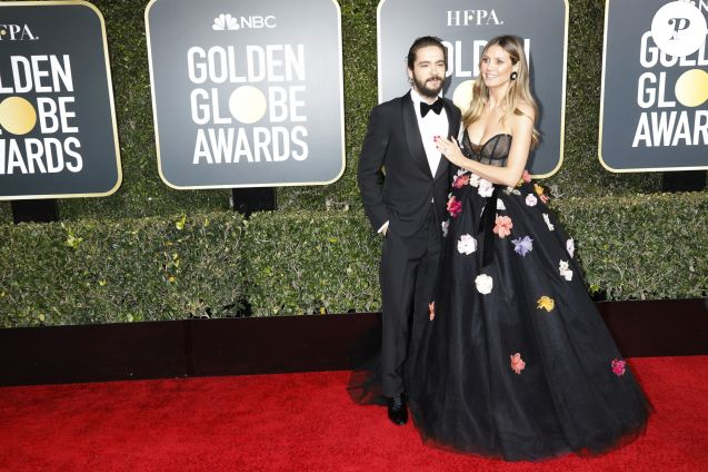Heidi Klum et son fiancé Tom Kaulitz à la 76e cérémonie annuelle des Golden Globe Awards au Beverly Hilton Hotel à Los Angeles, le 6 janvier 2019.