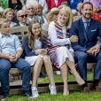Le prince Sverre Magnus, la princesse Ingrid Alexandra, la princesse Mette-Marit, le prince Haakon lors des célébrations du 80e anniversaire de la reine Sonja de Norvège à Oslo, le 4 juillet 2017.
