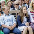 Le prince Sverre Magnus et la princesse Ingrid Alexandra de Norvège lors des célébrations du 80e anniversaire de la reine Sonja de Norvège à Oslo, le 4 juillet 2017.
