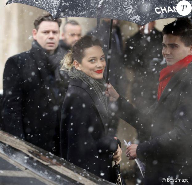 Marion Cotillard - Les célébrités arrivent au deuxième défilé Chanel au Grand Palais lors de la Fashion Week Haute Couture collection printemps/été 2019 de Paris, France, le 22 janvier 2019. © Veeren-CVS/Bestimage