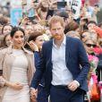 Le prince Harry, duc de Sussex, et Meghan Markle, duchesse de Sussex, ont été accueillis par une foule de supporters au Viaduct Harbour à Auckland, Nouvelle-Zélande, le 30 octobre 2018.
