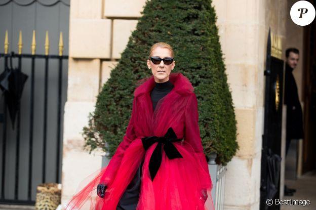 Céline Dion à la sortie de l'hotel Crillon à Paris le 27 Janvier 2019.