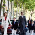La Princesse Cristina d'Espagne, son mari Duc de Palma de Majorque et leurs enfants à la communion de Victoria Federica, fille de la Princesse Elena d'Espagne à Madrid
