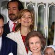 La Princesse Cristina et la Reine Sofia à la communion de Victoria Federica, fille de la Princesse Elena d'Espagne à Madrid