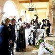 Le président de la République française Emmanuel Macron, sa femme la Première Dame Brigitte Macron, le ministre de l'Europe et des Affaires Etrangères Jean-Yves Le Drian et le pape copte orthodoxe Tawadros II (Théodore II) lors du dépot de gerbes à l'église El Boutrosia (lieu d'attentat contre la communauté copte en 2016) - Le président de la République française et sa femme la Première Dame et le pape copte orthodoxe au siège de la papauté copte à la cathédrale Saint-Marcdu Caire à Abbassia, Egypte, le 29 janvier 2019. Le couple présidentiel français est en visite officielle de trois jours en Egypte. © Dominique Jacovides/Bestimage