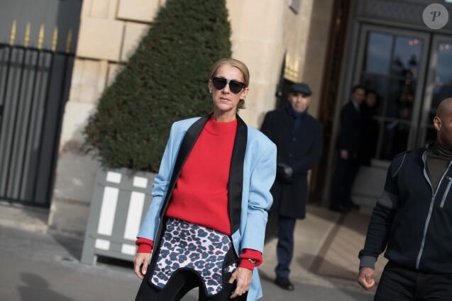 Céline Dion sort de l'hôtel de Crillon à Paris le 31 janvier 2019.