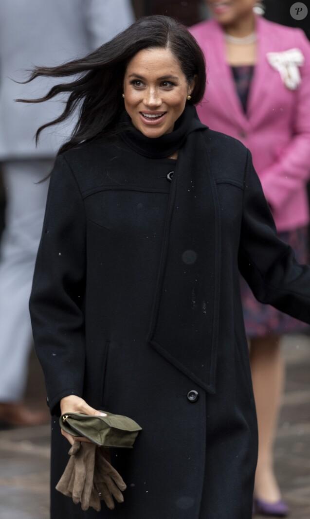 Le prince Harry, duc de Sussex, et Meghan Markle, duchesse de Sussex, enceinte, visitent le théâtre Bristol Old Vic. à Bristol le 1er février, 2019.
