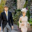 Le prince Ernst August de Hanovre et sa femme la princesse Ekaterina Malysheva avec le prince Christian de Hanovre et la comtesse Alessandra de Osma lors du mariage religieux du prince Ferdinand de Leiningen et de Viktoria Luise de Prusse à Amorbach en Allemagne le 16 septembre 2017.