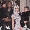 Kim Kardashian, Kanye West et leurs enfants North et Saint West. Décembre 2017.