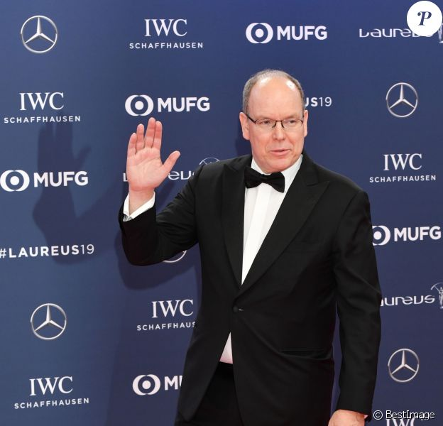 """Le prince Albert II de Monaco - Les célébrités posent sur le tapis rouge lors de la soirée des """"Laureus World sports Awards"""" à Monaco le 18 février 2019"""