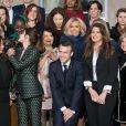 Wided Bouchamaoui, Wided Bouchamaoui, Aissata Lam, l'actrice britannique Emma Watson, le président de la République française Emmanuel Macron, sa femme la Première Dame Brigitte Macron, Marlène Schiappa, secrétaire d'Etat, chargée de l'Egalité des femmes et des hommes et Jamie McCourt, ambassadrice des Etats Unis en France lors de la photo de famille des participants à la réunion du conseil consultatif pour l'égalité entre les femmes et les hommes au palais de l'Elysée à Paris, France, le 19 février 2019. © Jacques Witt/Pool/Bestimage