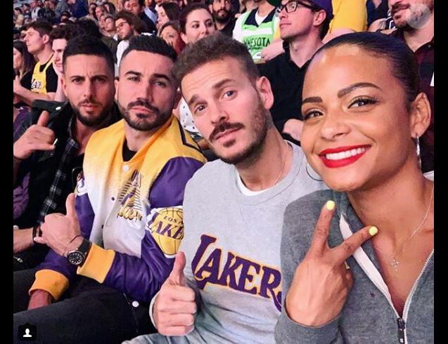 M. Pokora et Christina Milian au Staples Center de Los Angeles pour un match des Lakers le 7 novembre 2018.