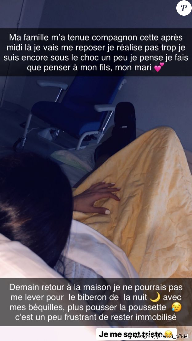 Julie Ricci hospitalisée après avoir été renversée avec son fils Gianni le 1er mars 2019 sur Instagram.