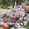 Exclusif- Arrivée samedi 16 février 2019 à Saint-Barthélemy pour les vacances scolaires des filles, Laeticia Hallyday est venue se recueillir sur la tombe de Johnny avec ses filles Jade et Joy, sa mère Françoise Thibaut et Jean Reno avec sa femme Zofia Borucka au cimetière marin de Lorient à Saint-Barthélemy.