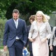 Le prince Haakon et la princesse Mette-Marit de Norvège arrivent au château Hafslund pour une conférence sur le réchauffement climatique