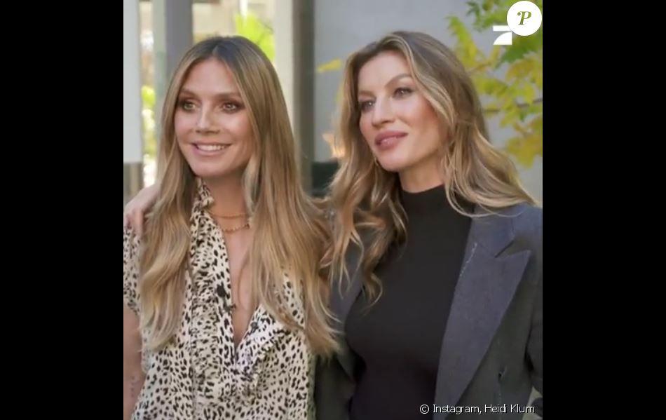 """Heidi Klum et Gisele Bündchen dans l'émission """"Germany's Next Topmodel"""". Mars 2019."""