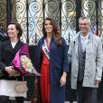 Iris Mittenaere (Miss Univers) et ses parents Yves Mittenaere et Laurence Druart au Palais de l'Elysée pour rencontrer le Président de la République François Hollande et visiter l'Elysée à Paris, le 18 mars 2017.