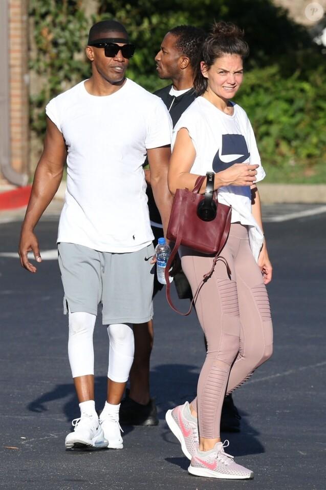 Exclusif - Katie Holmes et son compagnon Jamie Foxx sont allés à leur cours de gym en amoureux à Atlanta. Le 17 septembre 2018
