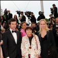 Agnès Varda entourée de son fils Mathieu et sa fille Rosalie - Festival de Cannes 2010