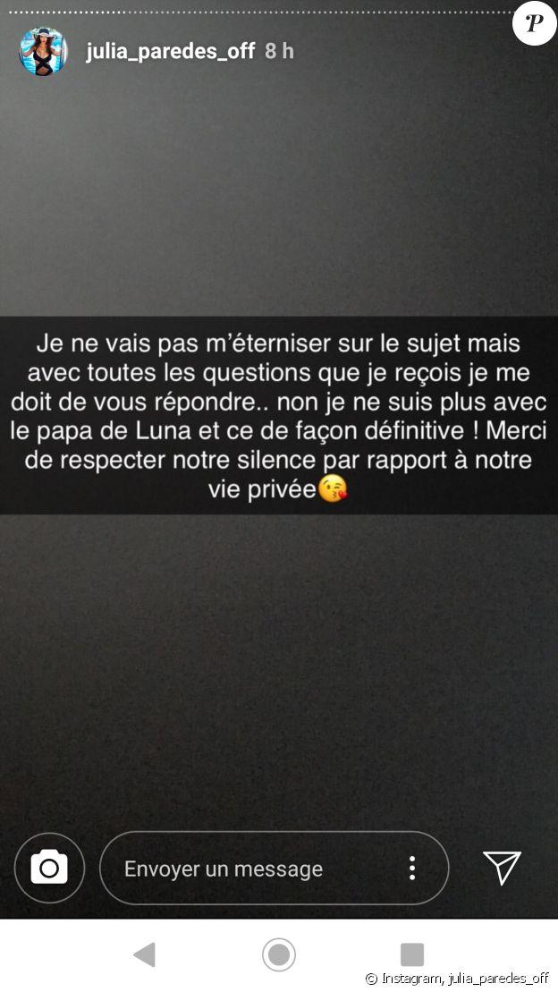 Julia Paredes annonce sa rupture avec Maxime - vendredi 29 mars 2019, sur Instagram