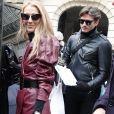 Céline Dion et Pepe Munoz sont de retour à l'hôtel, Le Crillon, à Paris, après leur visite chez Givenchy. Le 24 janvier 2019.