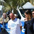 Emma Mackey, David Lisnard, maire de Cannes lors d'une partie de pétanque à l'initiative du maire de Cannes en marge de la 2ème édition du festival Canneseries à Cannes le 9 avril 2019. © Rachid Bellak / Bestimage