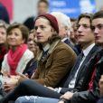 Pierre, Jean et Louis Sarkozy - People au meeting de Nicolas Sarkozy à Boulogne-Billancourt le 25 novembre 2014.