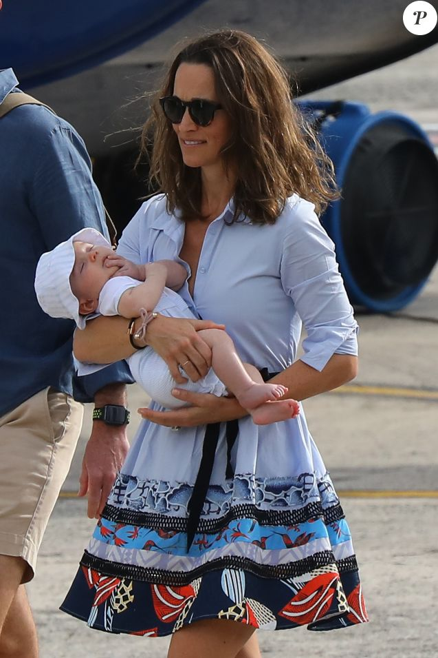 Exclusif -Pippa Middleton, son mari James Matthews, leur fils Arthur et toute la famille Middleton, à Saint-Barthélémy, le 8 janvier 2019.
