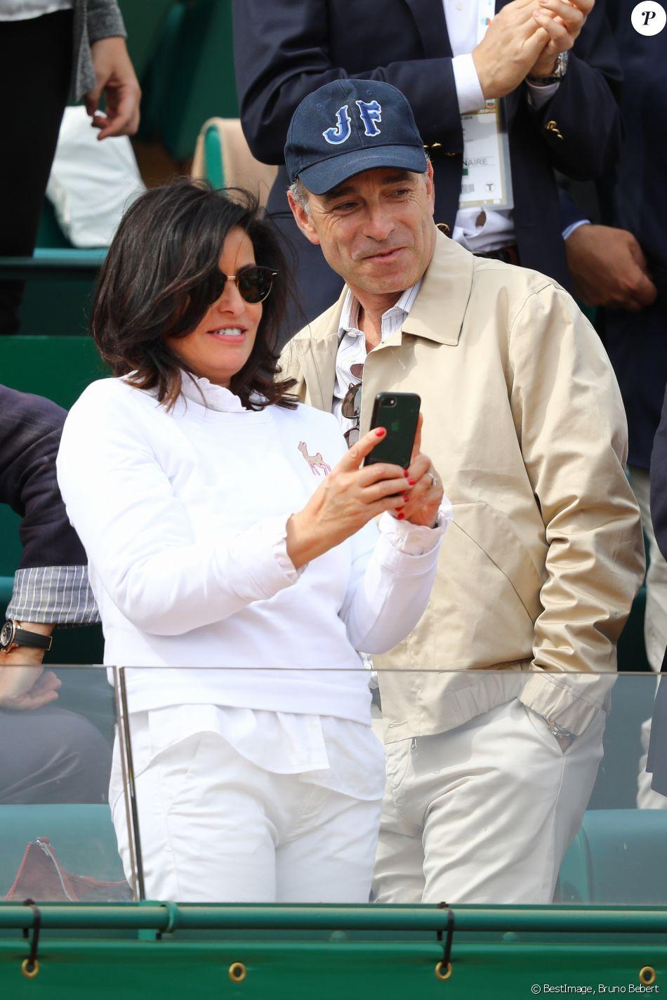 Jean-François Copé et sa femme, Nadia d'Alincourt durant le Rolex Monte Carlo Masters 2019 sur le court Rainier III pour les demi-finales à Roquebrune Cap Martin le 20 avril 2019. © Bruno Bebert / Bestimage