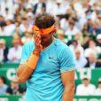Rafael Nadal lors de sa demi-finale perdue contre F. Fognini 6-4 / 6-2. Rolex Monte Carlo Masters 2019 sur le court Rainier III pour les demi-finales à Roquebrune Cap Martin le 20 avril 2019. © Bruno Bebert / Bestimage