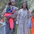 Kim Kardashian, Kanye West et leur fille North West à Los Angeles. Le 10 mars 2019.
