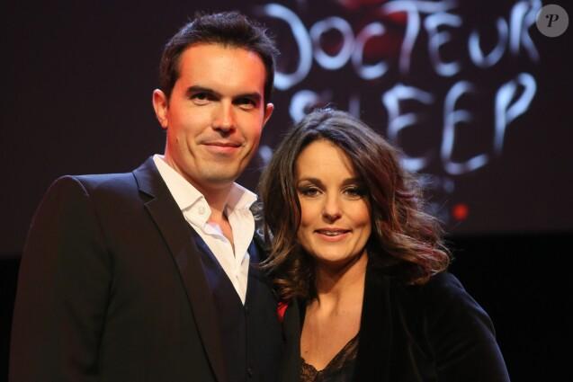 Maxime Chattam et sa femme Faustine Bollaert - Paris, le 16/11/2013 - Débat avec Stephen King au Grand Rex.