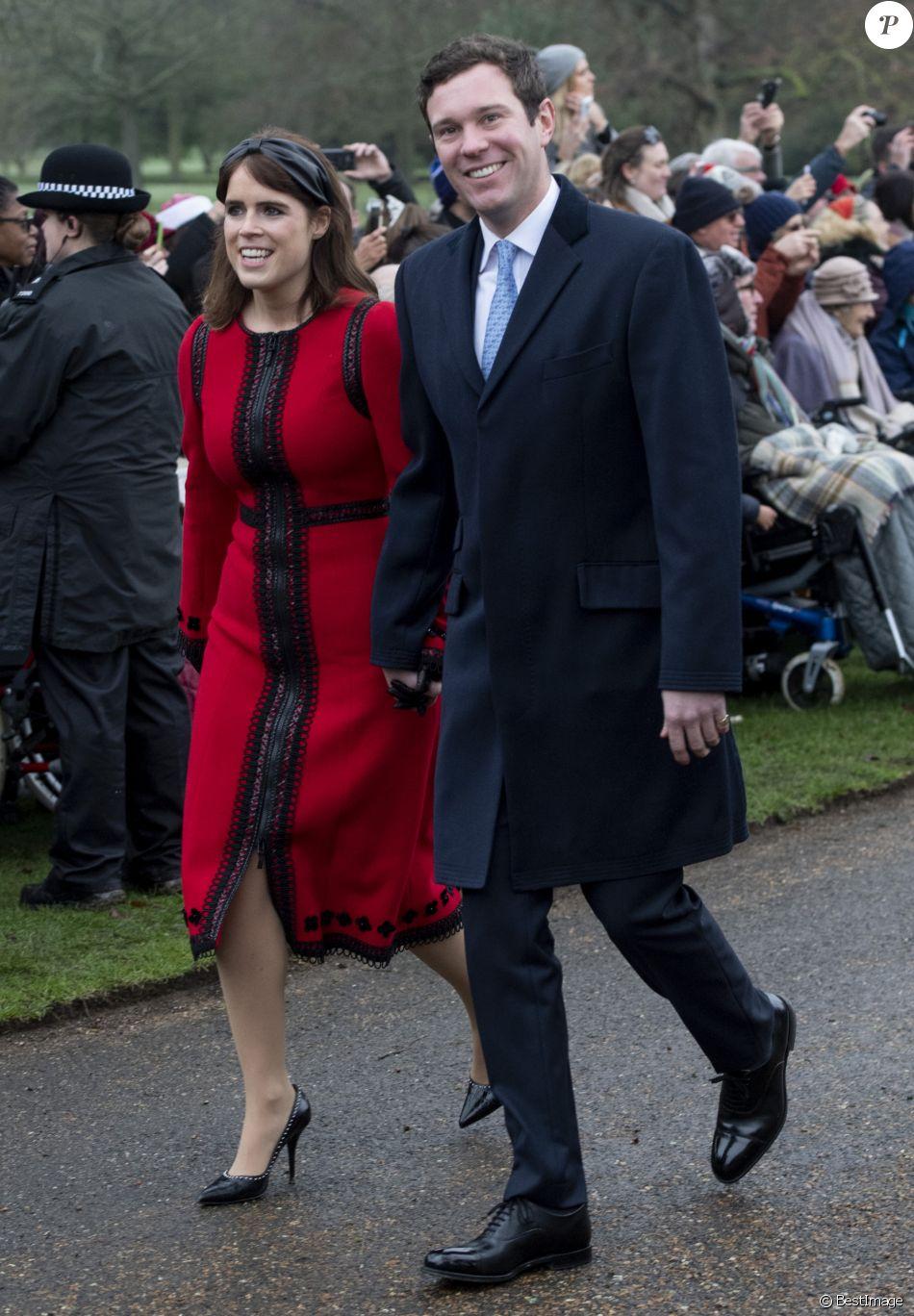 La princesse Eugenie d'York et son mari Jack Brooksbank à la messe de Noël à l'église Sainte-Marie-Madeleine à Sandringham, le 25 décembre 2018.