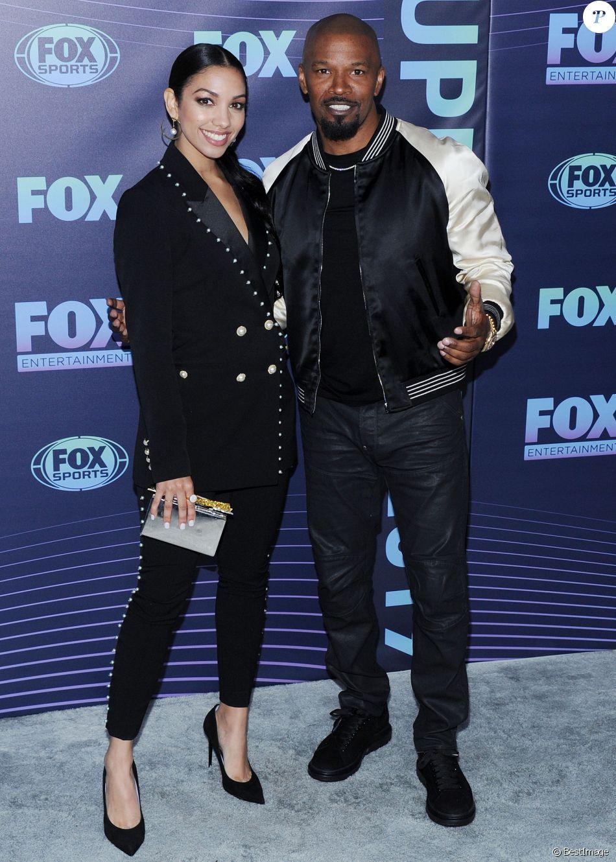 """Corinne Bishop et son père Jamie Foxx au photocall de """"FoxUpFront 2019"""" à New York, le 13 mai 2019."""