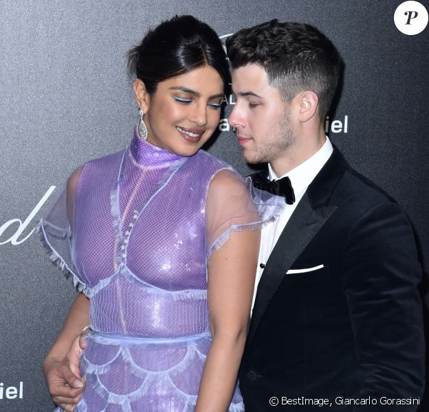 "Priyanka Chopra et son mari Nick Jonas - Photocall de la soirée ""Chopard Love Night"" lors du 72ème Festival International du Film de Cannes. Le 17 mai 2019 © Giancarlo Gorassini / Bestimage"