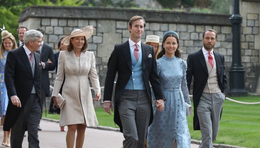 Pippa Middleton et James Matthews, Carole et Michael Middleton - Mariage de Lady Gabriella Windsor avec Thomas Kingston dans la chapelle Saint-Georges du château de Windsor le 18 mai 2019.