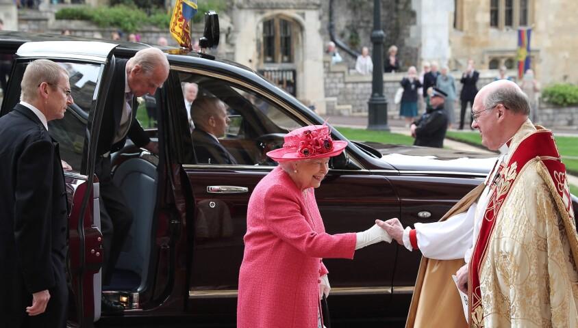 Elizabeth II et son mari le prince Philip - Mariage de Lady Gabriella Windsor avec Thomas Kingston dans la chapelle Saint-Georges du château de Windsor le 18 mai 2019.