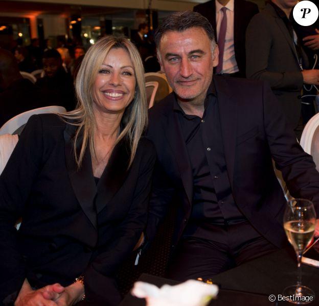 Christophe Galtier et sa femme lors de la soirée de la 28ème cérémonie des trophées UNFP (Union nationale des footballeurs professionnels) au Pavillon d'Armenonville à Paris, France, le 19 mai 2019.