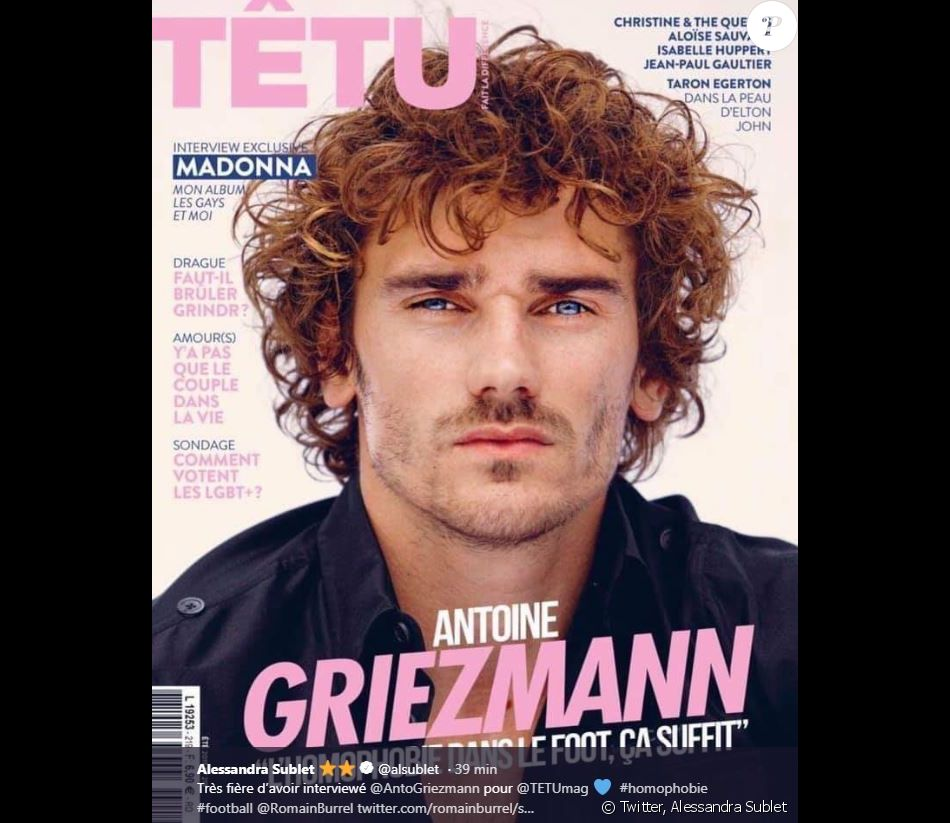 """Antoine Griezmann en couverture du magazine """"Têtu"""" (numéro été 2019). Interview d'Alessandra Sublet."""